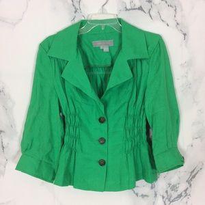 ZARA Woman Green Ruched Linen Blazer Jacket XL